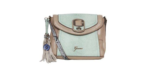 Dámská zeleno-béžová kabelka se střapcem Guess
