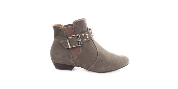 Dámské šedé kotníkové boty s přezkou přes nárt Vizzano