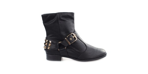 Dámské černé kotníkové boty s cvočky za patou Vizzano