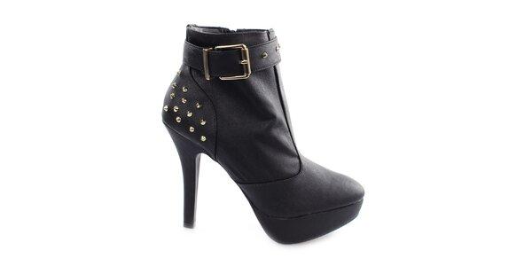 Dámské černé boty na vysokém podpatku Vizzano