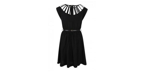 Dámské černé šaty s ozdobným dekoltem Madam rage