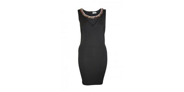 Dámské černé šaty s ozdobným výstřihem Madam rage