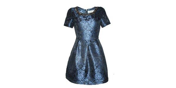 Dámské modré šaty s elegantním vzorem Madam rage