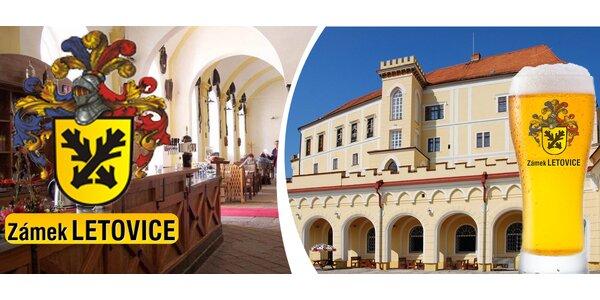3 piva, oběd a prohlídka zámku Letovice i se sklepením