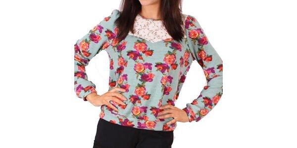 Dámské šedomodré tričko s květinami a krajkou Madam Rage