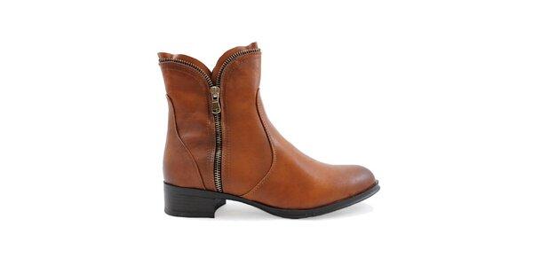 Dámské hnědé boty se zipy Ctogo GOGO