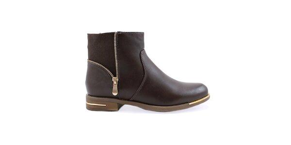 Dámské hnědé kotníkové boty s ozdobným zipem Ctogo GOGO