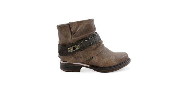 Dámské hnědé kotníčkové boty s výraznou přezkou Ctogo GOGO