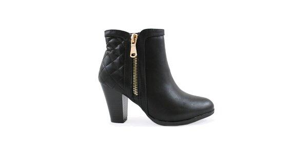 Dámské černé kotníčkové boty na podpatku Colorful