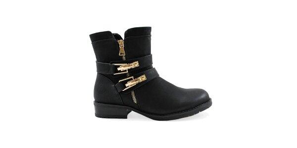 Dámské černé kotníkové boty se zlatými přezkami Colorful