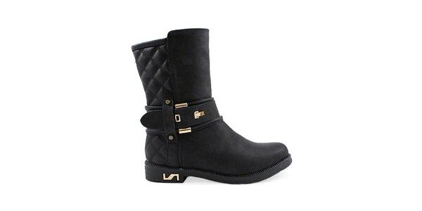 Dámské černé boty se zlatými prvky Colorful