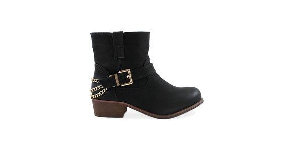 Dámské černé kotníkové boty s přezkou Colorful