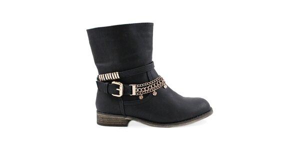 Dámské černé kotníčkové boty Colorful
