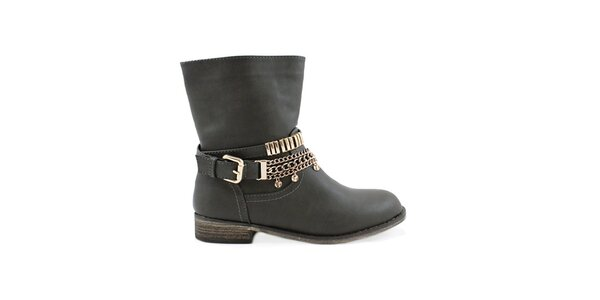 Dámské šedé kotníčkové boty Colorful