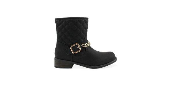 Dámské černé prošívané kotníčkové boty Colorful