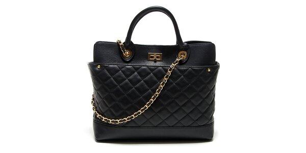 Dámská černá kožená kabelka s prošíváním Renata Corsi ()