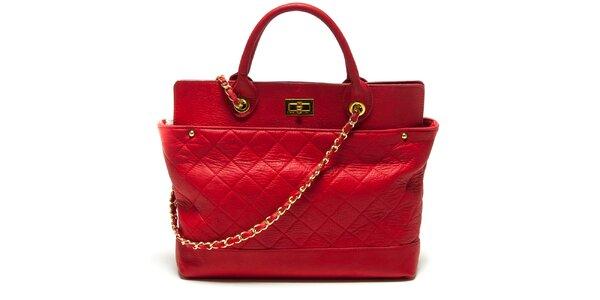 Dámská červená kabelka s prošíváním Renata Corsi