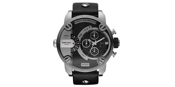 Pánské ocelové hodinky Diesel s koženým řemínkem