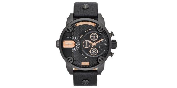 Pánské černé ocelové hodinky Diesel s koženým řemínkem