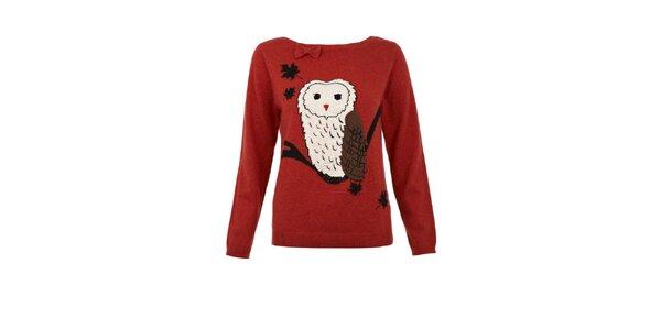 Dámský červený svetr se sovou Yumi