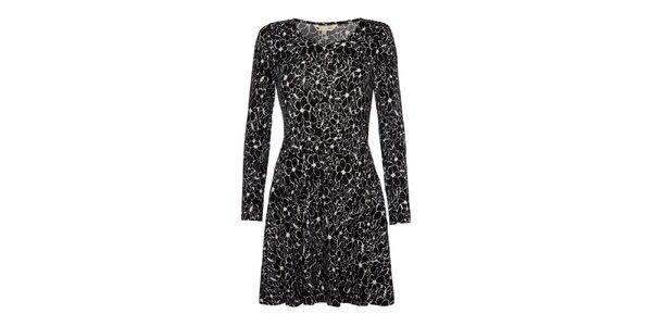 Dámské černé šaty s květinami Yumi