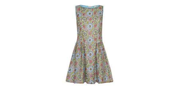 Dámské zeleno-modro-korálové šaty Yumi