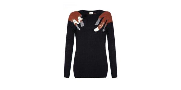 Dámský černý svetr s liškou Yumi