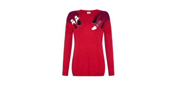 Dámský červený svetr s liškou Yumi