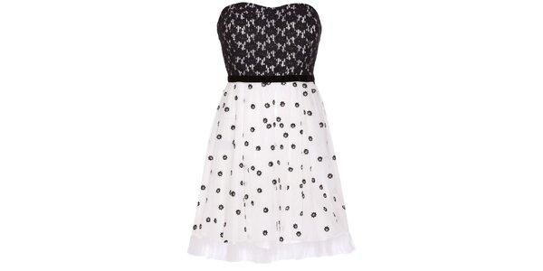 Dámské černo-bílé korzetové šaty Yumi