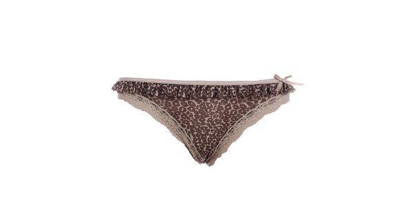 Dámská hnědá tanga s leopardím vzorem a krajkou DKNY