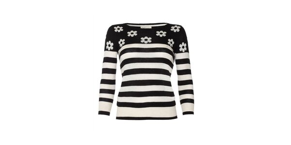 Dámský černě pruhovaný svetr s kytičkami Yumi