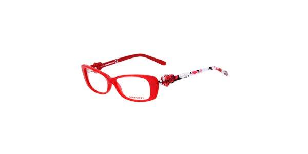 Dámské červené obroučky s barevnými stranicemi Miss Sixty