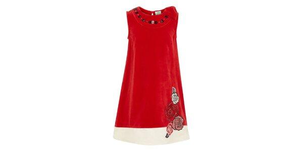 Dívčí červené šaty s květinami Uttam Boutique