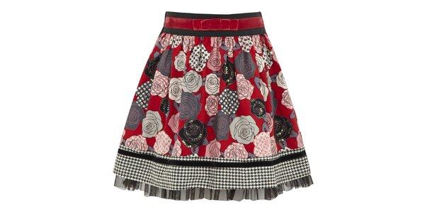 Dívčí červená sukně s růžemi Uttam Boutique
