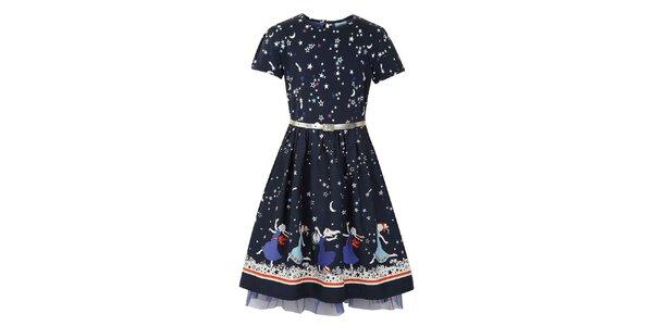 Dívčí modré šaty s princeznami Uttam Boutique