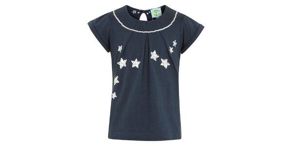 Dívčí modré tričko s flitrovými hvězdami Uttam Boutique