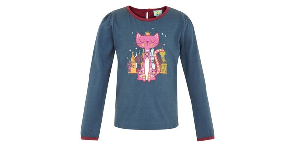 Dětské petrolejové tričko s kočičkou Uttam Boutique