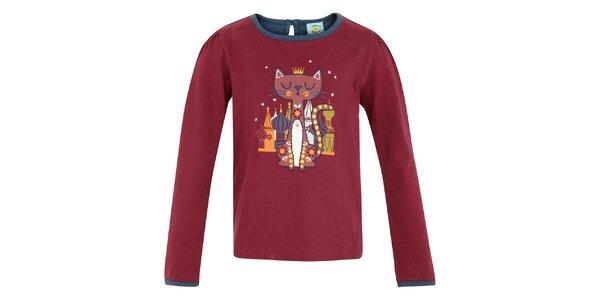 Dětské vínové tričko s kočičkou Uttam Boutique