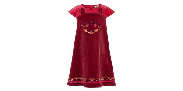 Dívčí vínové šaty s kočičkou Uttam Boutique