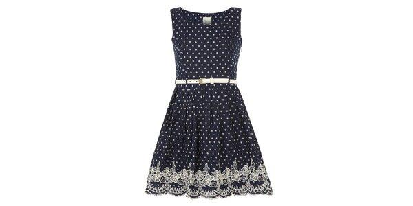 Dívčí tmavomodré šaty s puntíky Yumi