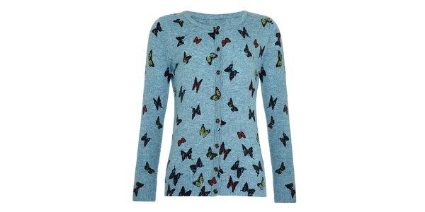 Dívčí modrý svetřík s motýly Yumi