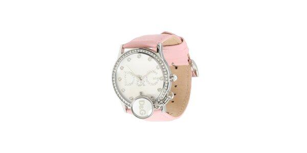 Dámské ocelové hodinky Dolce & Gabbana s kamínky a růžovým řemínkem