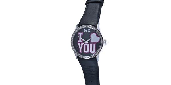 Dámské ocelové hodinky Dolce & Gabbana s kamínky a černým koženým řemínkem