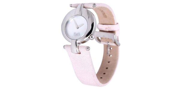 Dámské ocelové hodinky Dolce & Gabbana s růžovým řemínkem