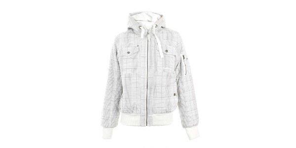 Dámská bílá kostkovaná bunda s kapucí Authority