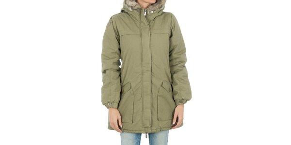 Dámský světlý khaki kabát s kožíškem Bench