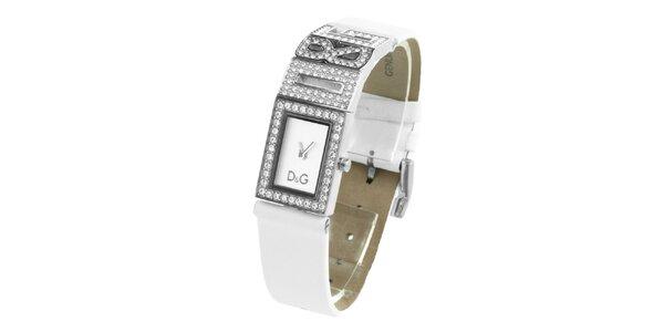 Dámské ocelové hodinky Dolce & Gabbana s kamínky a bílým koženým řemínkem