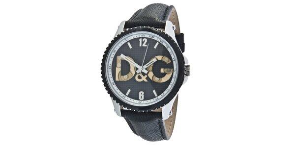 Pánské černé ocelové hodinky Dolce & Gabbana s koženým řemínkem