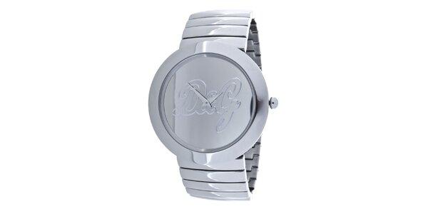 Dámské ocelové hodinky Dolce & Gabbana s bílým koženým řemínkem
