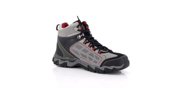 Unisex šedé trekové boty s červenými detaily Kimberfeel